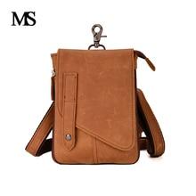 MS Crazy Horse Genuine Leather Men Bag Mens Messenger Bags Shoulder Crossbody Man Handbag TW2017