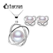 CYTHERIA стерлингового серебра 925 комплект ювелирных изделий серьги/ожерелье ювелирные изделия перлы для женщин стерлингов-серебро-ювелирные наборы подарочная коробка(China (Mainland))