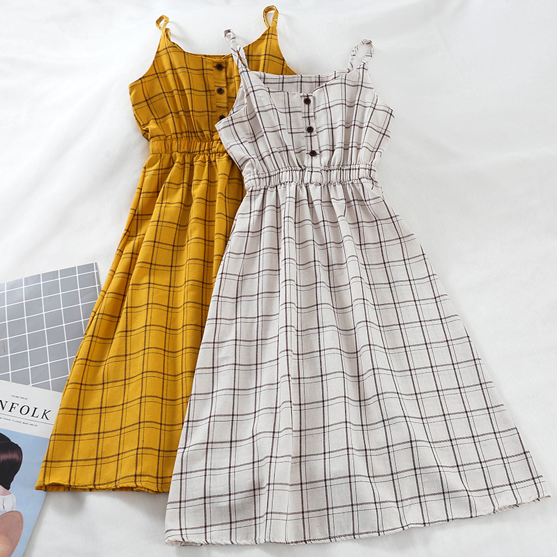 Pin Up Plaid Dress Vinatge Korean Sundress Spring Sexy Beach Dress Women Spaghetti Strap Dresses Woman Party Night 2020 Clothes