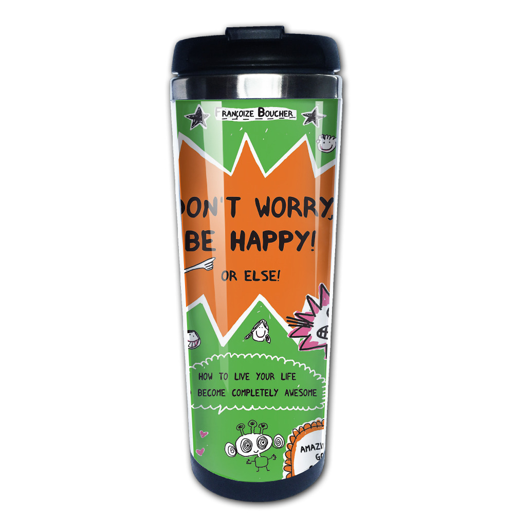 dont worry be happy coffee mug novelty car tazas stainless steel tumbler caneca tea Cups