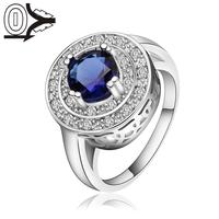 Christmas Gift Wholesale Silver-plated Ring,Silver Fashion Jewelry,Women&Men Big Round Crystal Bule Stone Silver Finger Rings