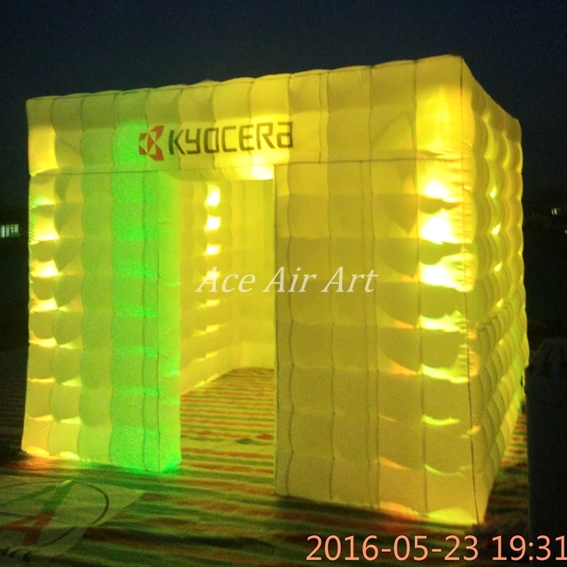 3m Led Inflatable Square Tent/Inflatable Photo booth,funny booth with free Logo For Party,Wedding and shows