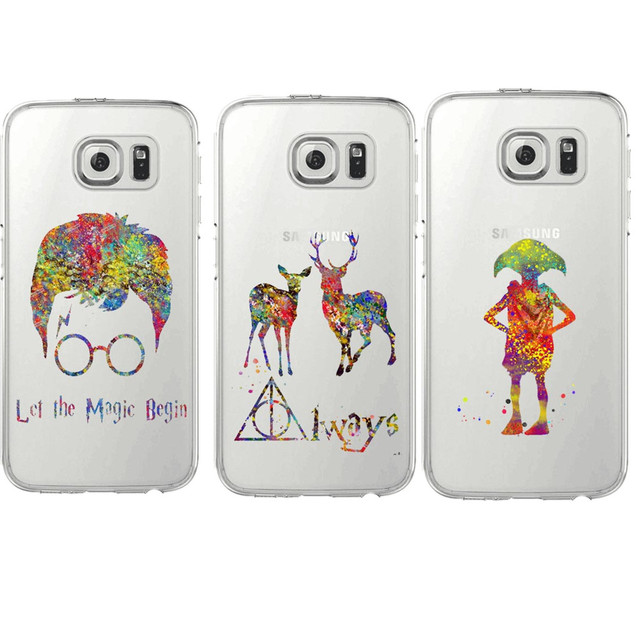 Harry potter deer always owl howgwarts hallows Clear Silicone TPU  Phone Cases Cover For Samsung Galaxy S5 S6 S7 Edge S8 Plus