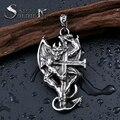 steel soldier stainless steel devil wing skull embrace cross pendant for men punk men jewelry