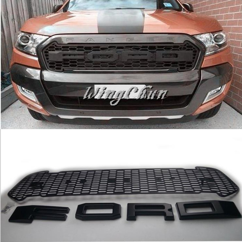 HIGH QUALITY ABS Front Grill for Ranger 2015 2016 FRONT RAPTOR BLACK LIT GRILLE FRONT GRILL