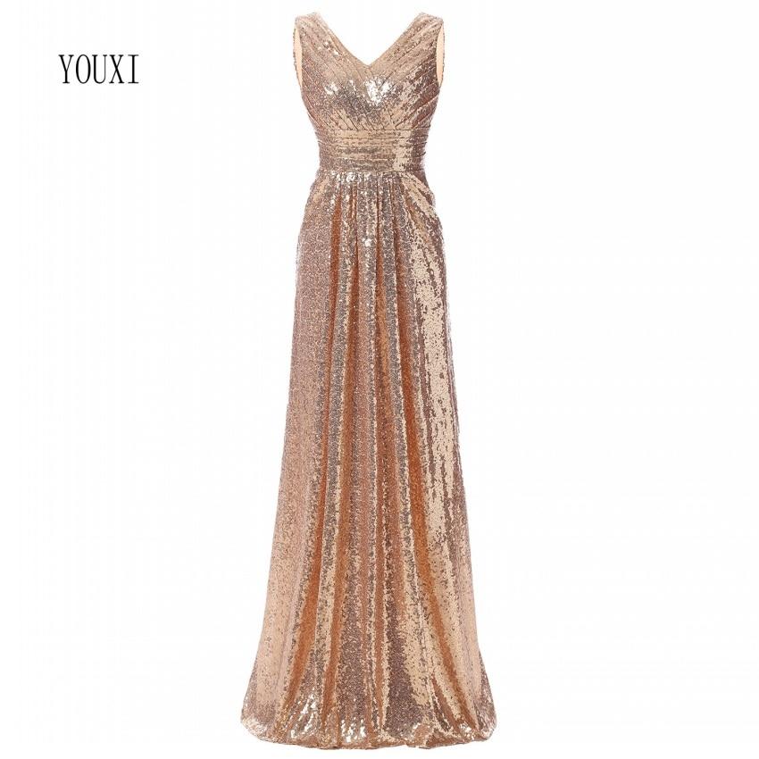 Rose Gold Sequined Bridesmaid Dresses 2018 Elegant Long Wedding Party Guest Dress Vestidos De Fiesta De Noche Prom Dress
