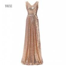 Rose Gold Sequined Bridesmaid Dresses 2020 Elegant Long Wedd