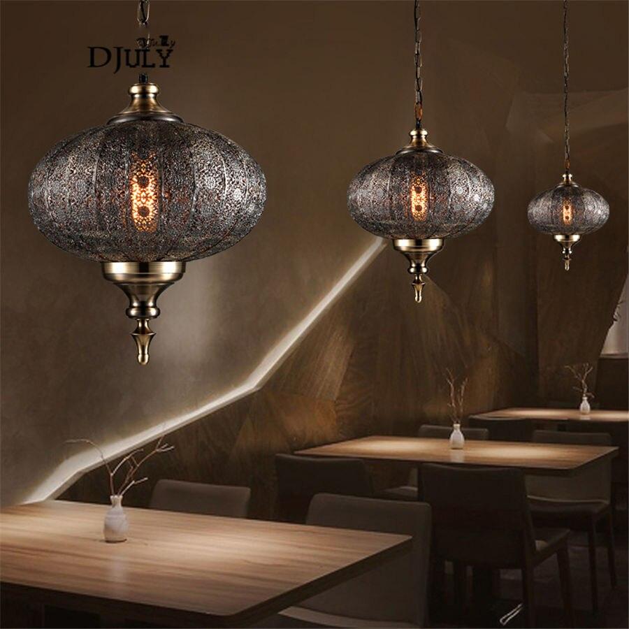 Юго Восточная Азия ретро полый подвесной светильник для столовой гостиной Лофт Декор Кухонные светильники Винтаж Бар светильник