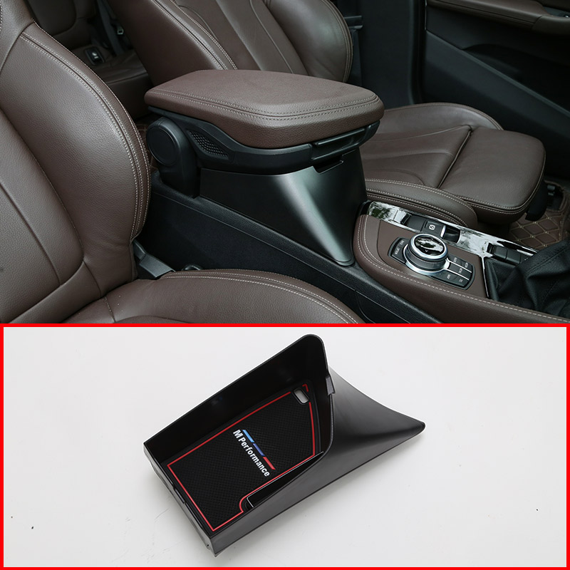 Black Plastic For BMW X1 F48 2016 2019 Car Armrest Box Heightening Storage Box For X2