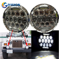 Round 7 INCH LED Headlight 75W High Low Dual Beam Headlamp With White Daytime Running Light