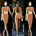 Fashion Sexy Patchwork Jumpsuits Long Sleeve Rompers Womens Jumpsuit  Bodycon Elegant Bodysuit For Women