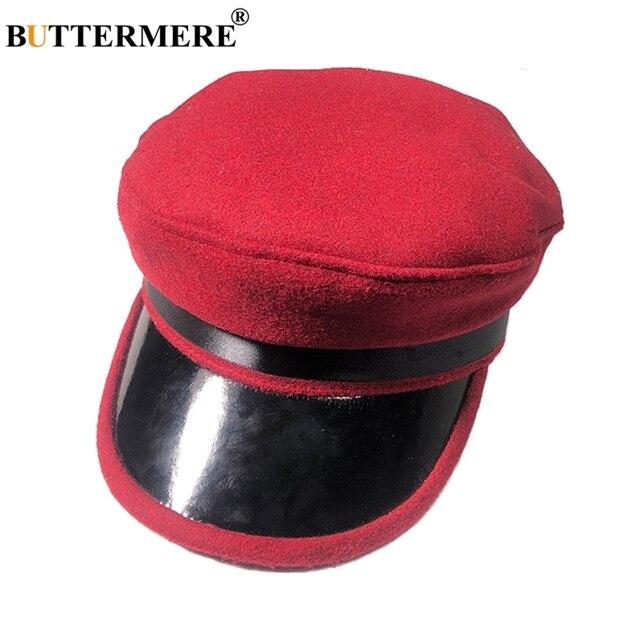 BUTTERMERE del Ejército Rojo gorra de capitán de lana sombrero de cuero de  las mujeres Vintage e8e45b0700b