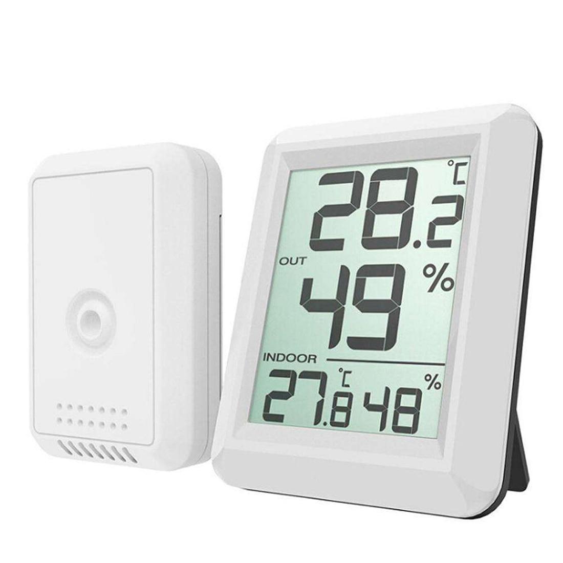 Casa estação sem fio indoor/outdoor higrômetro eletrônico medidor de umidade temperatura digital termômetro ferramentas de teste de tempo
