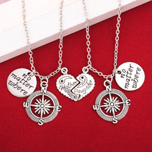 Mother Daughter No Matter Where Compass Necklace Set 2 Half Broken Heart Double Necklaces For Mother's Day