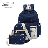 Fashion 3pcs Durable Canvas School Bags For Girl Large Capacity Teenagers Students Backpack High Quality Book