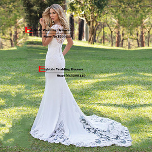 Image 2 - Eightale Boho Wedding Dress Appliques Lace Wedding Gown Custom made Spadex Chiffon Cap Sleeves V Neck Mermaid Bridal Dresses