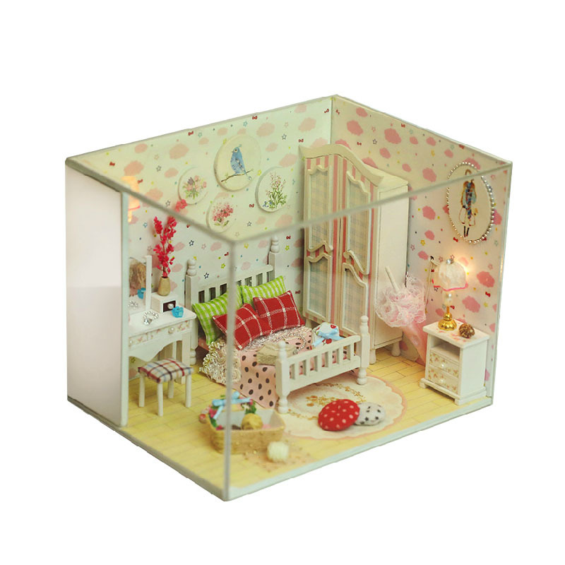 New Doll House Toy Miniature Wooden Doll House Loft With: Q007 New Arrive Doll House Furniture Diy Miniature Bedroom