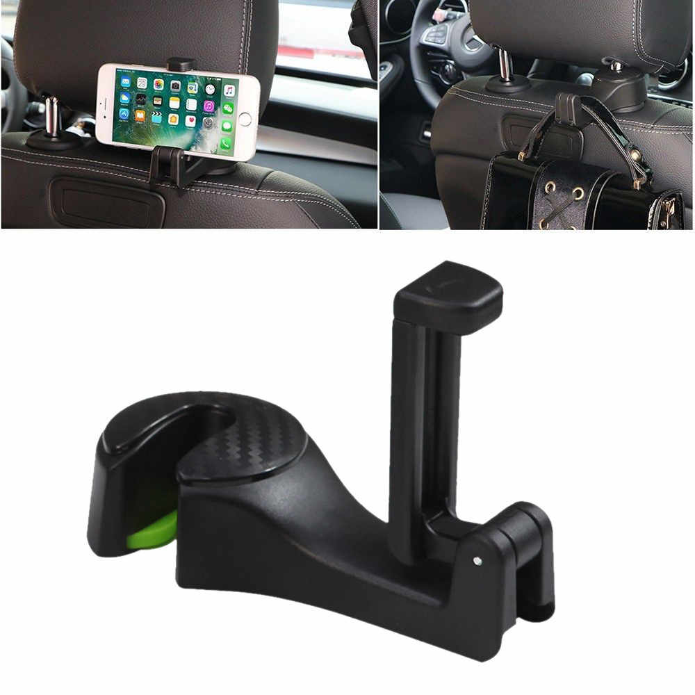 2 in 1 Multifunction Auto Headrest Car Headrest Hook Cell Phone High Quality Holder Stand Seat Back Hanger for Bag Handbag #D
