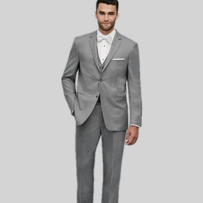 New Men's suits Arrival Two Buttons Grey Groom Tuxedos Groomsmen Men's Wedding Prom Suits Custom Made (Jacket+Pants+Vest)