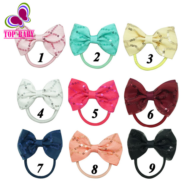 """Lovely 3"""" Sequin Hair Bows With Elastic Band Girls Grosgrain Ribbons Hairbow Hair Accessories 5 pcs"""