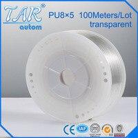 8mm*5mm 100m pu tube,pu pneumatic tube,polyurethane pu tube, air tube,air hose tubing transparent color