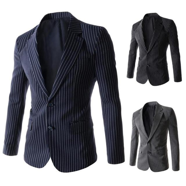 Europe and the United States fashion trend men 's striped Slim two deduction leisure suits lapel suits