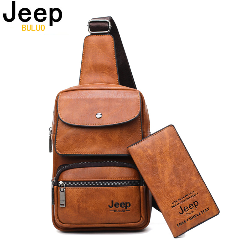JEEP BULUO Men Chest Bag 2pcs Set High Quality Split Leather Unisex Crossbody Sling Bag For IPad Big Size Man's Travel Bag Brand