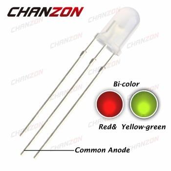 100 шт. 5 мм общий анод, красный, желтый, зеленый, Рассеянный 5 мм светодиодный Диод 20 мА постоянного тока 2 в круглый двухцветный светильник, све...