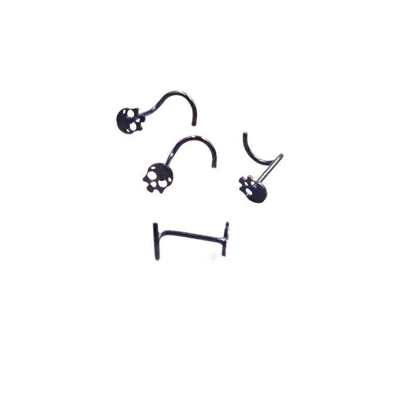 Anillos para nariz de calavera Punk, 1 Uds., anillo de acero inoxidable para tabique, Piercing falso de alambre, pendiente para nariz, anillos para mujer y Chica, joyería
