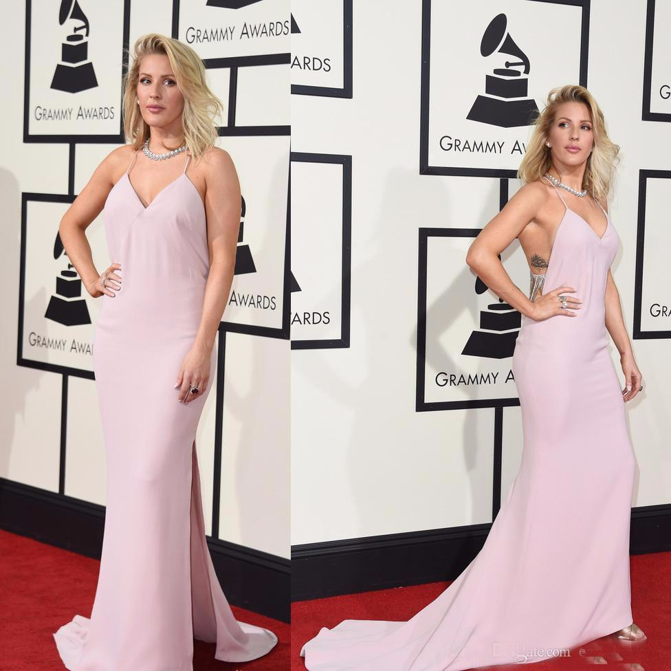 2017 58e Grammy Awards Sexy Tapis Rouge Célébrité Robes rose fendue à dos nu