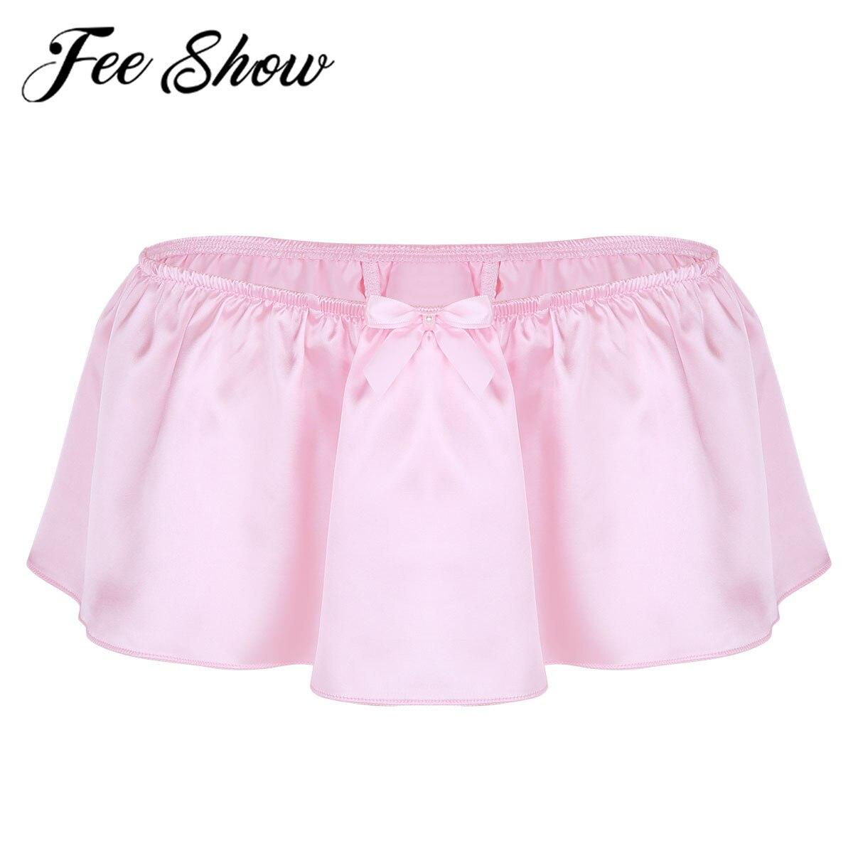 Sexy Men Lingerie Shiny Satin Sissy Skirted G-string Thong Bikini Nightwear Underwear Underpants Exotic Panties Party Clubwear