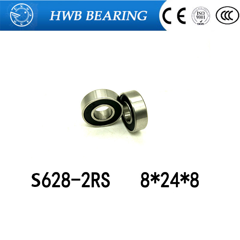 Free shipping 8*24*8 MM S628-2RS stainless steel 440C hybrid ceramic deep groove ball bearing 8x24x8 mm 628 jamo s 628