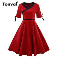 Tonval V Neck Elegant Summer Vintage Rockabilly Dress Women Tie Cuff Cotton Red Dresses Robe High Waist Retro Dress