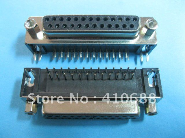 D-Sub 25 pin Female PCB Connector Right Angle DIP 2 rows Hot Sale HIGH Quality 12 Pcs Per Lot