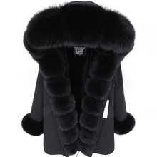 купить Winter Jacket Women 2019 Long Parka  Real Fur Coat Natural Fox Fur Collar Thick Warm Streetwear Brand Luxury New Fashion parkas дешево