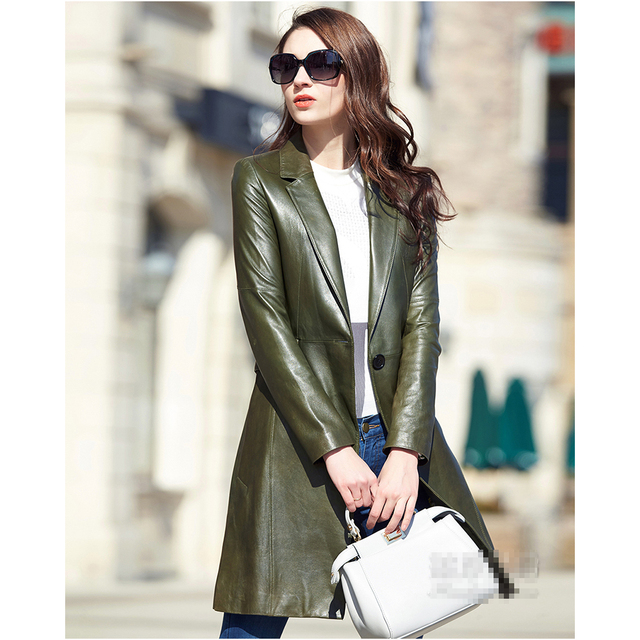 301b0d912f9 Leather suede sheepskin coat women spring autumn genuine leather trench  long design army green leather coat New Phoenix
