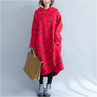 New Winter Long Korean Plus Thick Velvet Warm Hooded Large Size Women S Sweatshirt Animal Deer