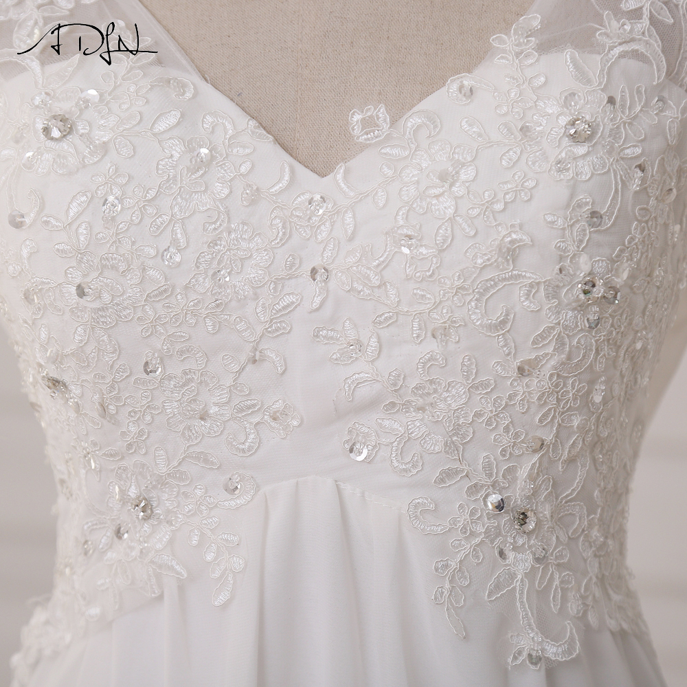 Lace Chiffon Beach Bride Dress 6
