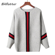 BHflutter gris de punto pulóver mujeres Batwing Cachemira Otoño Invierno  suéteres Tops rayado Casual Jumpers Knitwear mujeres tr. 547193f8e198