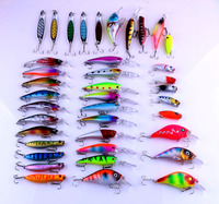 39pcs Artificial Fishing Lure Set Hard Metal Bait Minnow Popper Spoon Lure Fishing Tackle Mixed Color/Style/weight