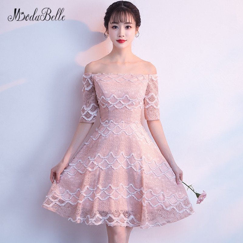 Us 1680 Modabelle Off Shoulder Pink Lace Homecoming Dresses Vestido Coctel Half Sleeves Princess Cooktail Dress Cheap New Arrival 2018 In