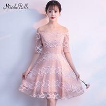 11d9219ff3b Modabelle off ramię różowy koronkowe sukienki homecoming vestido coctel pół  rękawy księżniczka cooktail sukienka tanie nowy naby.