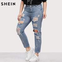SHEIN Jeans Plus Size Blue Denim Casual Trousers Ripped High Waist Wash Extreme Distressing Jeans Spring