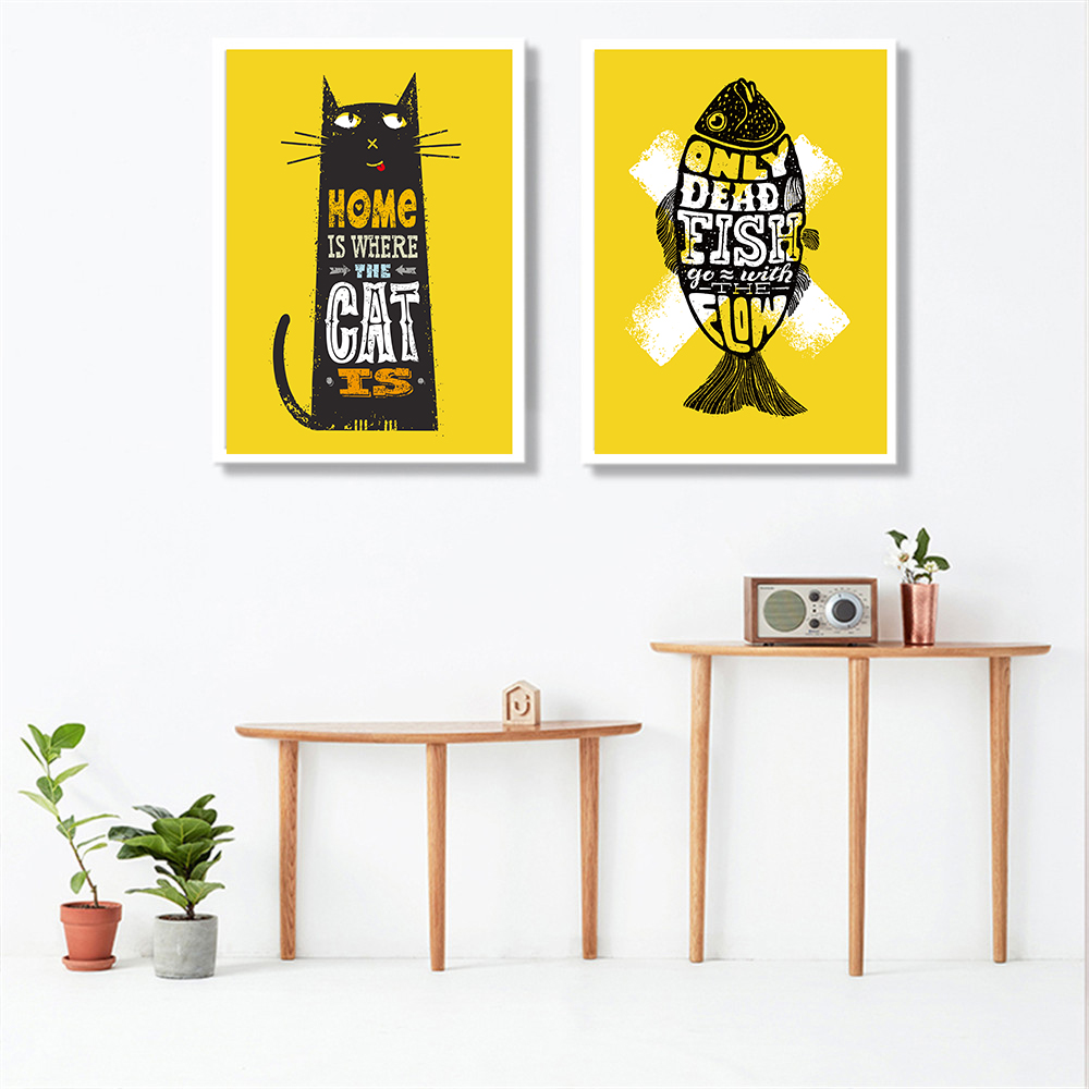 Home is Where the Cat Is Yellow Canvas Painting Art Print Pet Decor ...