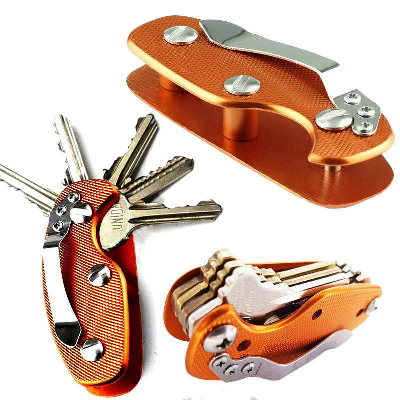 EDC Aluminum Alloy Key Holder Clip Keyring Organizer Folder Keychain Pocket Tool