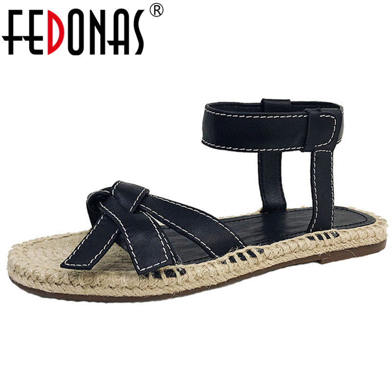 FEDONAS Rome Round Toe Shallow Buckle Women Sandals Concise Genuine Leather Women Flats Casual Shoes Woman Party Office ShoesFEDONAS Rome Round Toe Shallow Buckle Women Sandals Concise Genuine Leather Women Flats Casual Shoes Woman Party Office Shoes