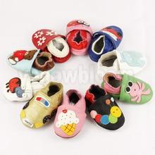 Мягкая кожаная обувь для маленьких мальчиков и девочек, тапочки для младенцев 0-6, 6-12, 12-18, 18-24, новая стильная кожаная Нескользящая детская обувь