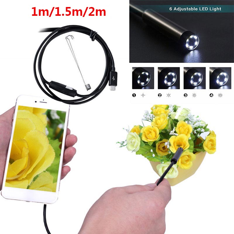 1/1.5/2M 7mm Lens Endoscope HD 480P USB OTG Snake Endoscope Waterproof Inspection Pipe Camera Borescope For Android Phone PC