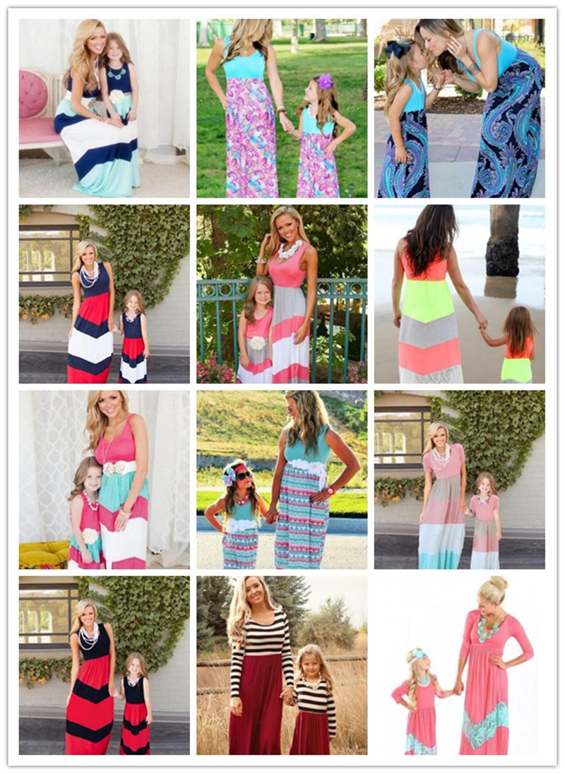 2017 Family Matching Bohemia Dresses Summer Mother and Daughter Girls Outfits Mommy Me Beach Dress Family Look Clothes matching mommy and me dresses family dress mum mom and daughter dress mother daughter outfits summer kids girls beach clothes