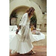 Saida De Praia Feminino 2019 Beautiful Dresses Long For Women Beach Wear White Lace Dress Bohemian Lady Maxi Frock